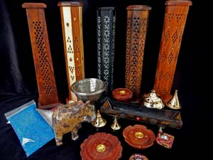 Incense Smoking Pillars, Towers, Brass Burners, Wood, Soapstone Holders